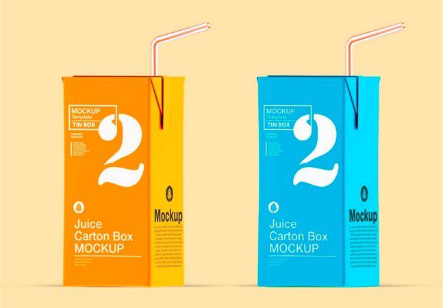 果汁纸盒与秸秆模型设计
