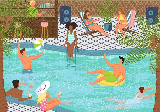 泳池派对概念矢量插画设计