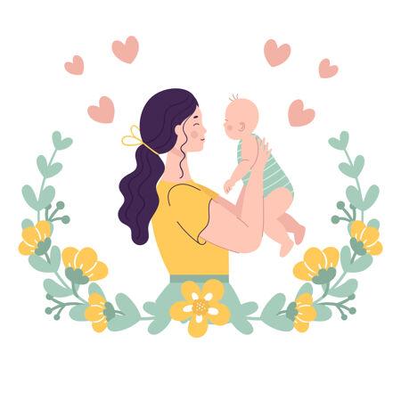 抱着孩子的年轻漂亮女人