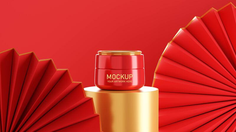 化妆品霜模型设计的三维渲染