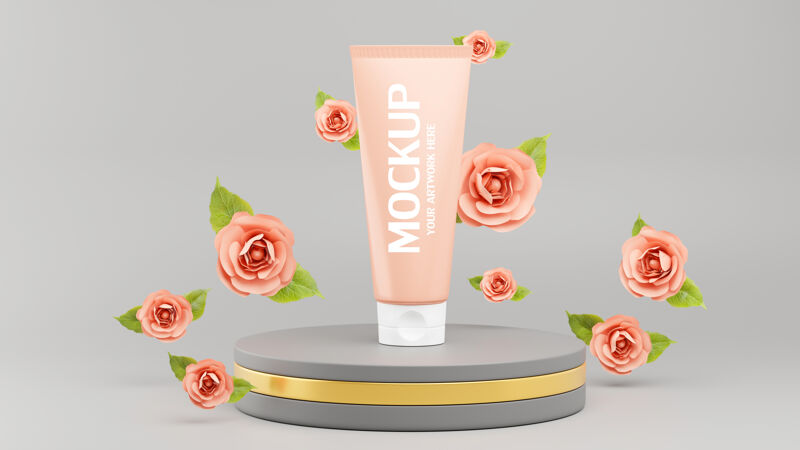 三维渲染的化妆品模型品牌