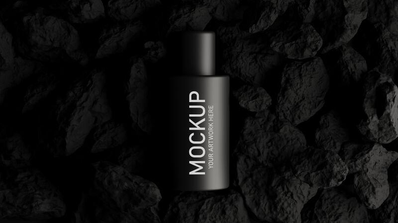 三维渲染的化妆品模型品牌与黑色的概念