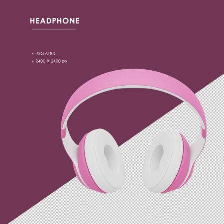从顶角看 是孤立的粉色无线耳机