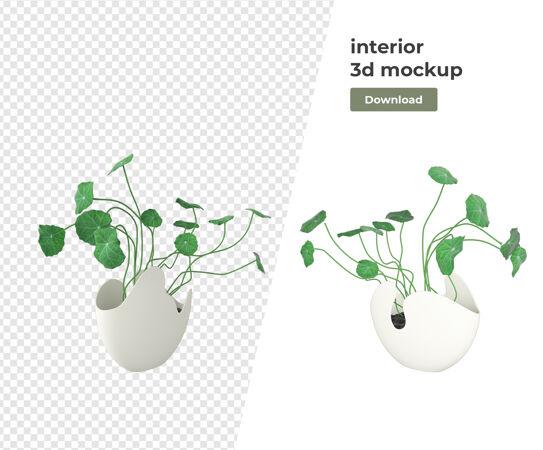各种植物装饰3d渲染隔离