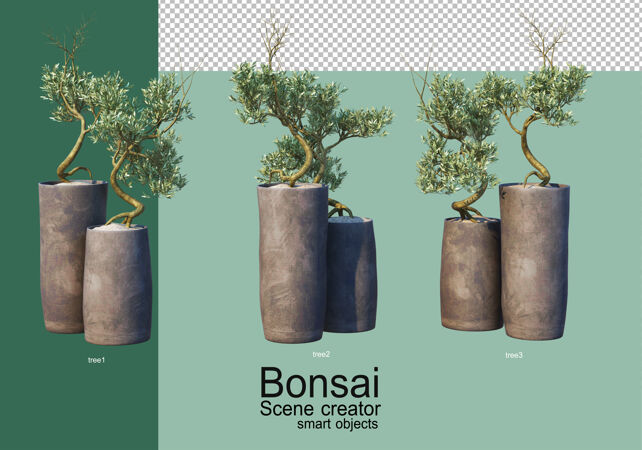 盆景树排列的三维渲染