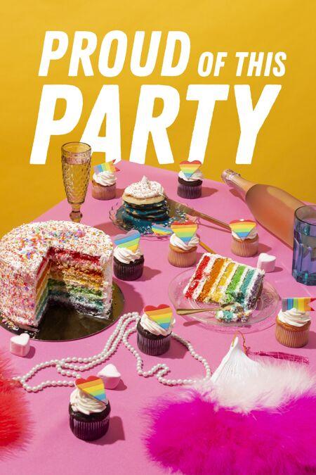 世界自豪日派对用彩虹蛋糕组成