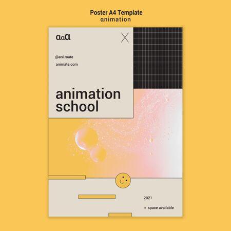 动画学校海报模板