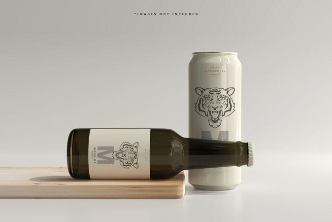 500ml光滑的苏打水或啤酒罐 带瓶子模型