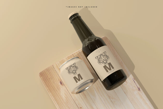 250ml短粗苏打水或啤酒罐和瓶子模型