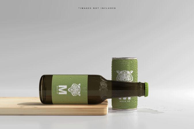 180ml迷你苏打或啤酒罐和瓶装水滴模型
