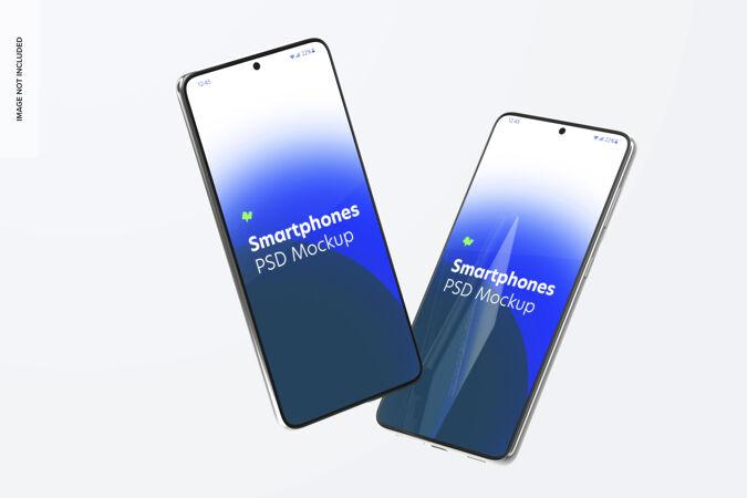 智能手机模型 漂浮