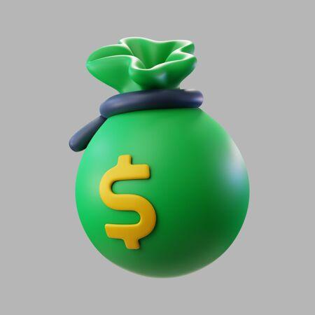 带美元标志的3d绿色钱袋