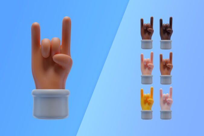 三维收集与手制作摇滚乐的标志