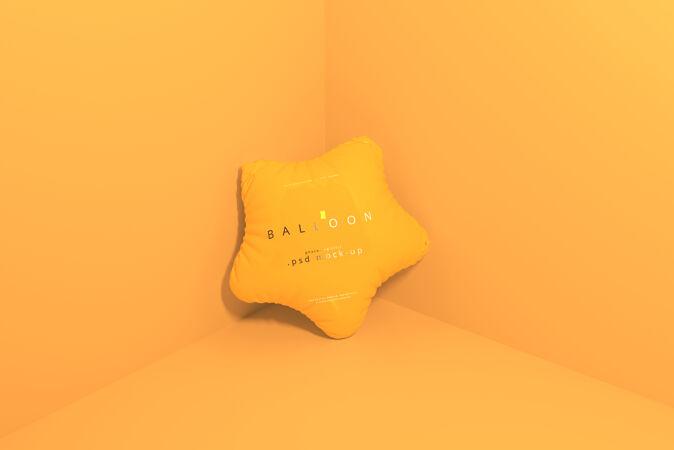 星形橙色气球模型
