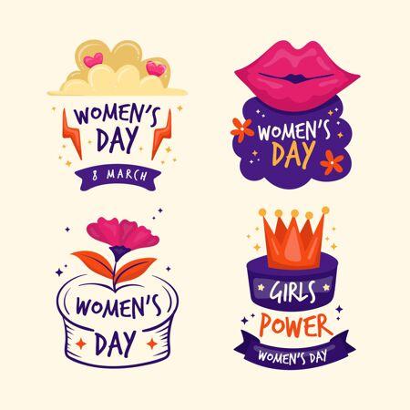 手绘国际妇女节徽章收藏