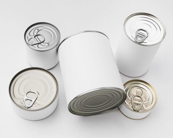 顶视图五个锡罐