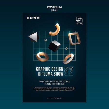 创意立体造型艺术展海报模板