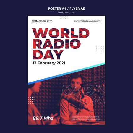 世界广播日海报模板与男播音员