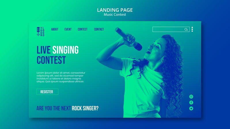 与表演者现场音乐比赛的登录页模板